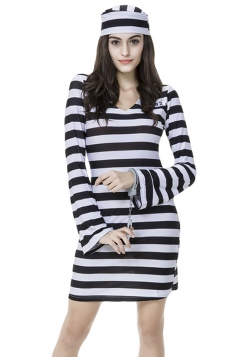 Womens Striped Long Sleeve Halloween Prisoner Costume Black