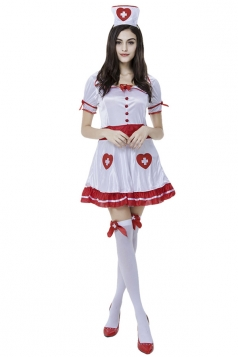 Womens Heart Sweet Halloween Nurse Costume White