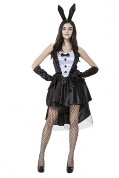 Womens High Low Backless Halloween Bunny Costume Black