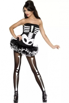 Womens Off Shoulder Ruffle Halloween Zombie Costume Black