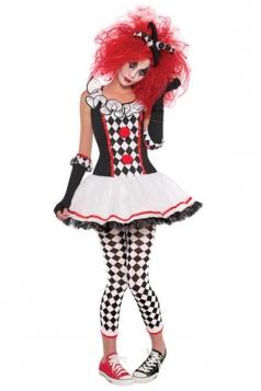 Womens Ruffle Harley Quinn Halloween Circus Costume White