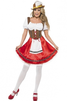 Womens Ruffle Pretty Halloween Maid Costume Red