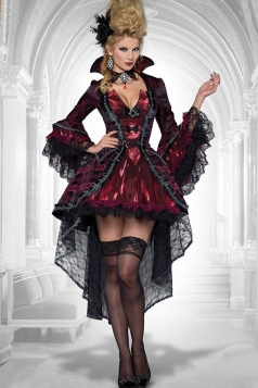 Womens Lace Bow Sexy Halloween Evil Queen Costume Ruby