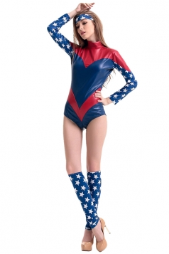 Womens Cool Captain America Halloween Costume Blue