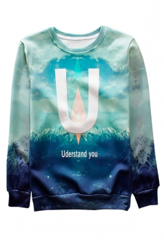 Blue Understand U Printed Crew Neck Pretty Ladies Sweatshirt