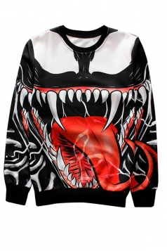 Red Big Mouth Printed Crew Neck Pretty Ladies Sweatshirt