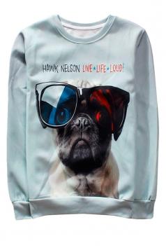 White Sunglass Dog Printed Crew Neck Pretty Ladies Sweatshirt