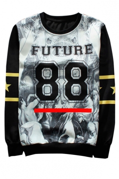 White Future 88 Printed Crew Neck Pretty Ladies Sweatshirt