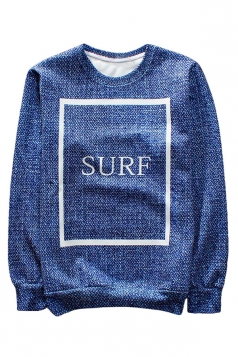 Blue Surf Printed Crew Neck Pretty Ladies Sweatshirt