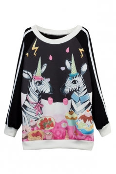 Womens Unicorn Printed Casual Pullover Sweatshirt Black