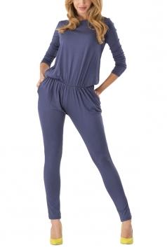 Blue Plain Long Sleeve Fashion Womens Harem Jumpsuit