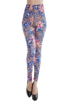 Womens Floral Printed Slimming Sexy Leggings Blue