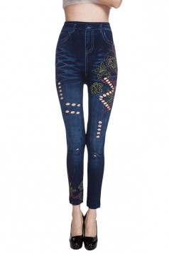 Womens Jeans Imitated Cut Out Sexy High Waisted Leggings Blue