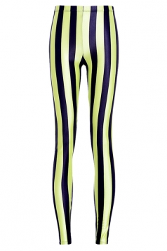 Ladies Pretty Black Striped Leggings Yellow