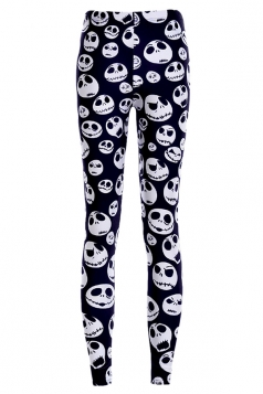 Womens White Stylish Skull Printed Skeleton Leggings Black