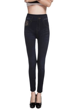 Womens Jeans Imitated Sexy High Waisted Leggings Blue