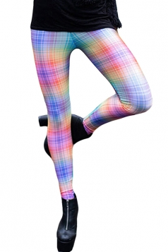 Ladies Color Block Digital Printed Plaid Leggings Blue