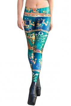 Womens Novel Vintage Egypt Tribal Printed Leggings Turquoise
