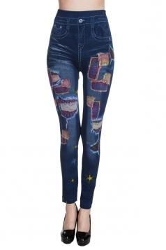 Womens Denim-like High Waisted Leggings Blue