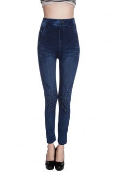 Womens High Waisted Geometric Jeans Imitated Leggings Blue