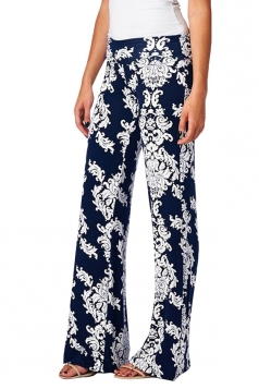Sapphire Blue Ladies Exotic Loose Floral Printed Leisure Palazzo Pants