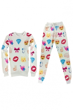 White Emoji Printed Sports Womens Pullover Sweatshirt Pants Suit