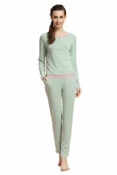 Green Modal Crew Neck Long Sleeve Pretty Chic Womens Pajamas