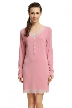 Womens V Neck Lace Decorated Modal Pyjamas & Sleepwear Pink