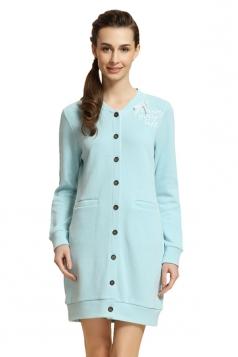 Womens V Neck Bowknot Cardigan Plain Modal Pyjamas & Sleepwear Blue