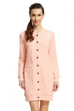 Womens V Neck Bowknot Cardigan Plain Modal Pyjamas & Sleepwear Pink