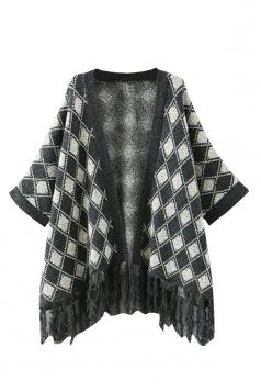 Black Argyle Pattern Tassel Loose Womens Cardigans Sweater