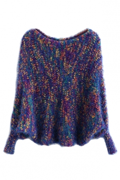 Girls Lovely Batwing Sleeve Patterned Pullover Sweater Blue