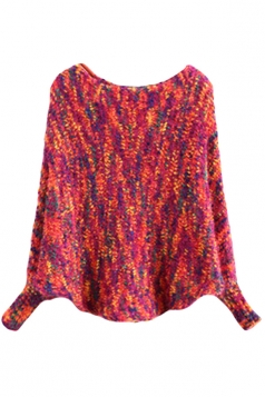 Girls Lovely Batwing Sleeve Patterned Pullover Sweater Rose Red