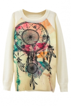 Ladies Wind-bell Printed Crew Neck Pullover Sweater White
