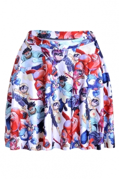 Red Womens Slimming Baymax Printed Pleated Skirt