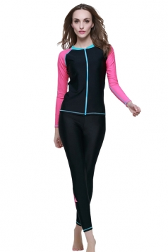 Black Ultraviolet-proof Long Sleeve Fashion Womens Diving Suit