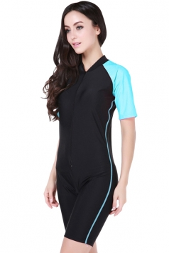 Blue Ultraviolet-proof Chic Color Blocking Womens Diving Jumpsuit
