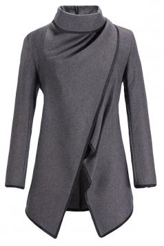 Ladies Irregularly Slimming Retro Wool Coat Gray