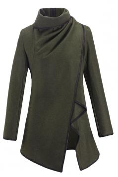 Ladies Irregularly Slimming Retro Wool Coat Light Green