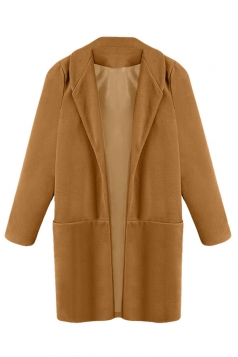 Ladies Notched Lapel Cardigan Wool Coat Pure Chestnut