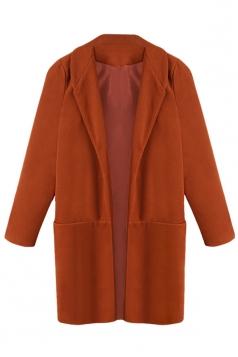 Ladies Notched Lapel Cardigan Wool Coat Pure Khaki