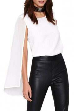 Womens Chiffon Crewneck Cape Sleeve Blouse White