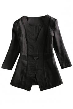 Womens Shoulder Pads 3/6 Length Sleeve Blazer Black