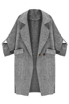 Womens Suit Collar Cardigan Sleeve Tab Blazer Gray