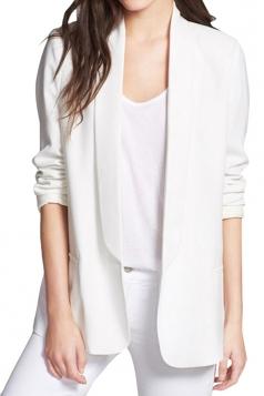 Womens Casual Turndown Collar Slim Long Sleeve Blazer White