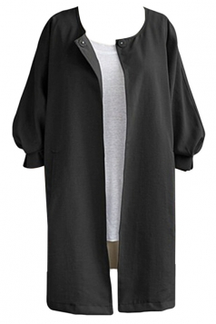 Womens Plain Collarless Balloon Sleeve Long Style Blazer Black