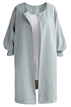 Womens Plain Collarless Balloon Sleeve Long Style Blazer Gray
