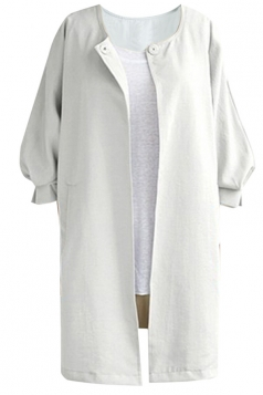 Womens Plain Collarless Balloon Sleeve Long Style Blazer White