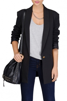 Womens Slimming Shawl Collar One Button Blazer Solid Black