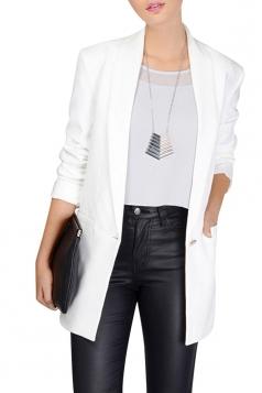 Womens Slimming Shawl Collar One Button Blazer Solid White